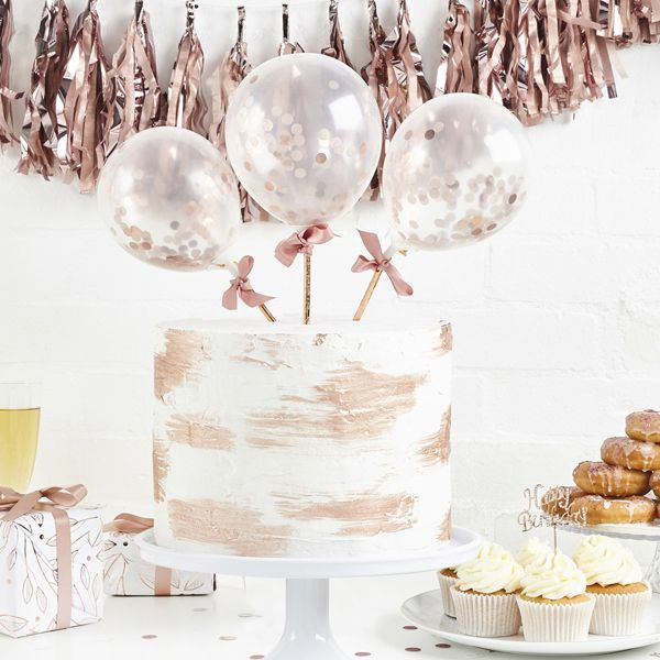 Mini Rose Gold Confetti Balloons Toppers on Sticks - 5 inch
